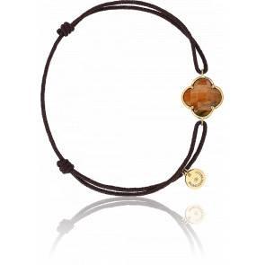 Bracelet Victoria Cordon Chocolat Oeil De Tigre Miel, Or Jaune