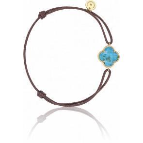 Bracelet Victoria Cordon Taupe, Turquoise, Or Jaune