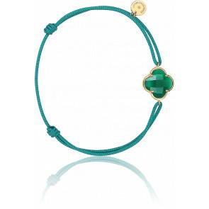 Bracelet Victoria Cordon Mer Du Sud Agate Verte, Or Jaune