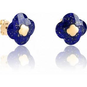 Puces d'Oreilles Or Jaune Lapis Lazuli