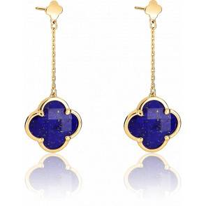 Boucles d'Oreilles Pendantes Victoria Lapis Lazuli, Or Jaune