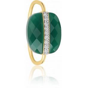 Bague Aurore Agate Verte & Diamants, Or Jaune