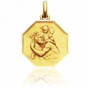 Médaille Octogonale Saint Christophe Or Jaune 18K