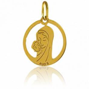 Médaille Vierge Maternité Ajourée Or Jaune 18K