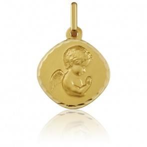 Médaille Ange en Prière Bords Facettés Or Jaune 18K