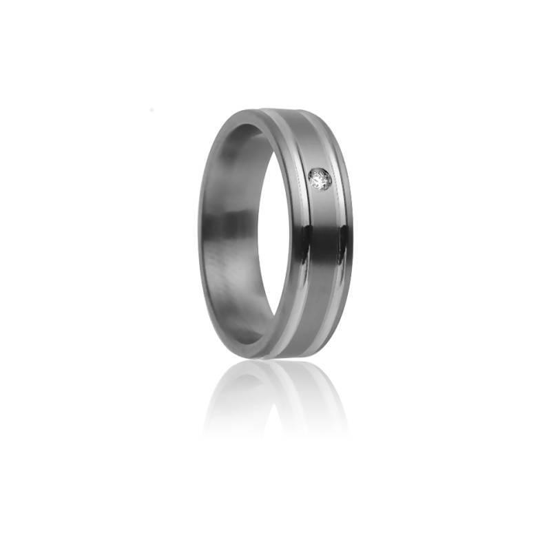 Alliance Méliades 7 mm, Titanium, Or Blanc 18K et Diamant